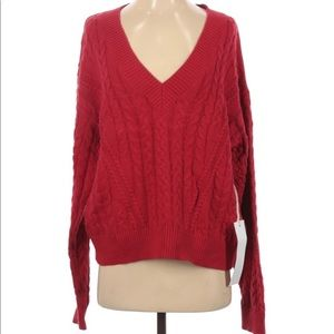 Lumiere M Red Knit Sweater NWT